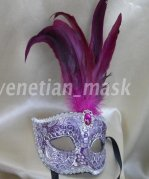 Handmade Silver Jacquard Cloth Three-dimensional Decorative Masquerade Mask