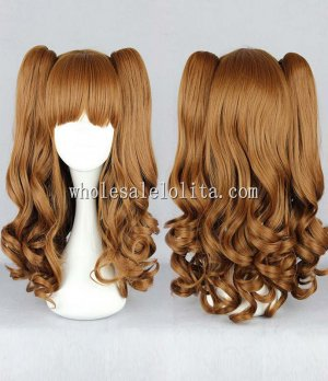 Cosplay Japanese Lolita Wigs Brown Pigtails For Laides
