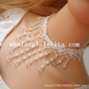 Beautiful White Lace Pearl Gem Pendant Necklace for Bride/Bridesmaid Accessory