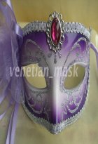 Violet Masquerade Mask with Flower