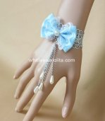 Light Blue Bow Drop-shaped Pearl Bracelet