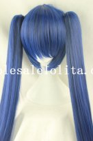 Cosplay Blue/Black Mix-colored Heat Resistant Long Straight Hair Wig