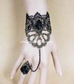Black Lace Gothic Vampire Rose Bracelet Ring
