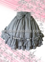 Checked Ruffled Cotton Lolita Skirt