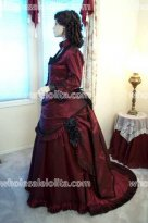 CUSTOM Burgundy Satin Victorian Ball Gown Vintage Dress Holiday Dress