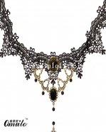 Vintage Elegant Gothic Black Lace Necklace with Gem Pendant