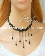 Women's Gothic Black Lace Vintage Gem Pendant Necklace for Gift