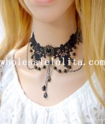 Fashion Pearl Pendant Black Lace Necklace for Gift