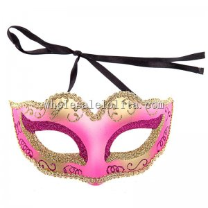 Gold Glitter Masquerade Masks with Braiding for Kids