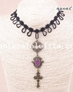Elegant Royal Black Lace Collar Choker Purple Gem Pendant Hotsale Necklace