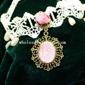 Charm White Lace Pendant Necklace with Red Rose and Pearl