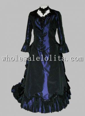 1880s Navy Blue Victorian Bustle Dress Reenactment Theatre Costume