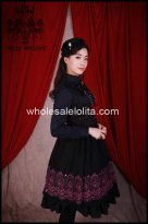 Vintage Gothic Black Printing Back Drawnstring JSK Lolita Dress