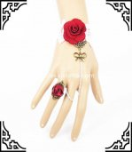 Vampire White & Red Gothic Retro Bracelet and Ring