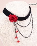 Black Velvet Red Rose Collar Choker Copper Pendant Hotsale Necklace