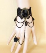Gothic Vintage Black Lace Rose Ladies Bracelet/Wrist Strap
