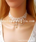 Vintage Graceful White Lace Pearl Pendant Collar Choker Necklace for Women