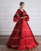 18th Century Red Belle Gown Victorian Period Prom Dress