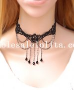 Black Lace Gothic Fashion Gem Pendant Chain Necklace for Women's Gift