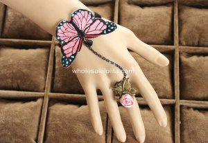 Gothic Pink Butterfly Lace Lolita Bracelet