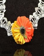 Prom White Lace Collar Choker Necklace with Orange/Yellow Flower