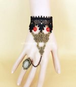 Vintage Bronze Black Lace Red Bead Gothic Bracelet & Ring