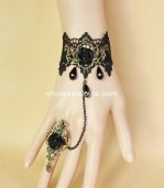 Gothic Vintage Bronze Black Lace Rose Ladies Bracelet