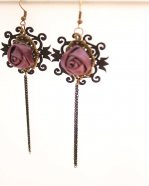 Gothic Purpl Rose Lace Lolita Earrings MTE18