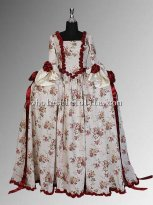 Renaissance or Medieval Antoinette Style Rococo Floral Print Summer Dress Multiple Colors Available