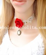 Royal Beautiful White Collar Choker Pearl Pendant Lace Necklace with Red Rose