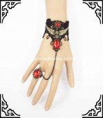 Hot Sale Gothic Black & Red Ruby Pirate Skull Halloween Bracelet & Ring