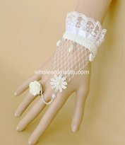 Elegant Pure White Lace & Pearl Bride Bracelet and Ring