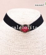 Popular Vintage Gothic Black Vevet Collar Choker Necklace with Red Rose