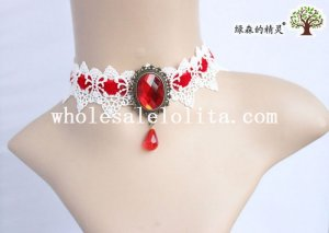 Royal Gothic Red Velvet Ruby White Lace Collar Choker Ruby Necklace