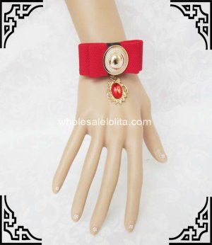 Gothic Red Bow Golden Vintage Bracelet / Wristband