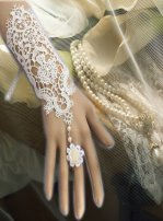 Gothic White Bride Gloves Lace Lolita Bracelet