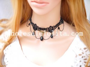 Women's Black Lace Gothic Fashion Gem Pendant Chain Necklace for Gift