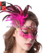 Women's Feathered Venetian Half Mask Masquerade Halloween