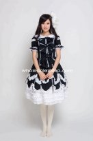 Black Cotton Gothic Lolita Dress Victorian Style Princess Ball Gown Cosplay