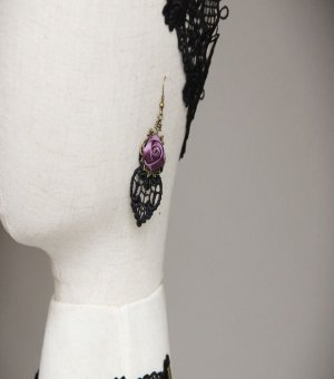 Purple Rose Copper Gothic Earrings EH-14