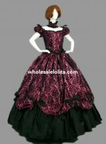 Historical Brocade & Cotton Victorian Prom Dress Ball Gown Reenactment Clothing