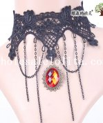 Women's Black Handmade Lace Collar Choker Ruby Pendant Necklace