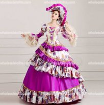 18th Century Rococo Style Marie Antoinette Inspired Purple Prom Dress Wedding Ball Gown