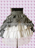 Checked Multilayer Cotton Lolita Skirt with Bow in front