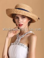 2014 Summer Raffia Straw Ribbon Bow Small Brim Bowler Hat