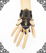 Gothic Vintage Black Lace Bronze Ladies Party Bracelet