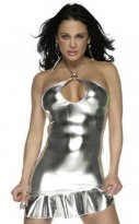 Charming Sliver Sexy PVC Nightclub Dress
