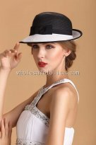 Classic Black and White Paper Straw Bow Small Brim Sun Protection Hat