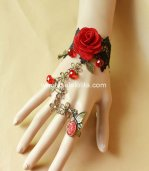 Gothic Retro Black Lace Bronze Butterfly Red Big Rose Bracelet & Ring
