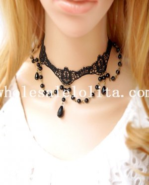 Gothic White Lace Collar Choker Pearl Necklace with Pearl Pendant Chain for Prom